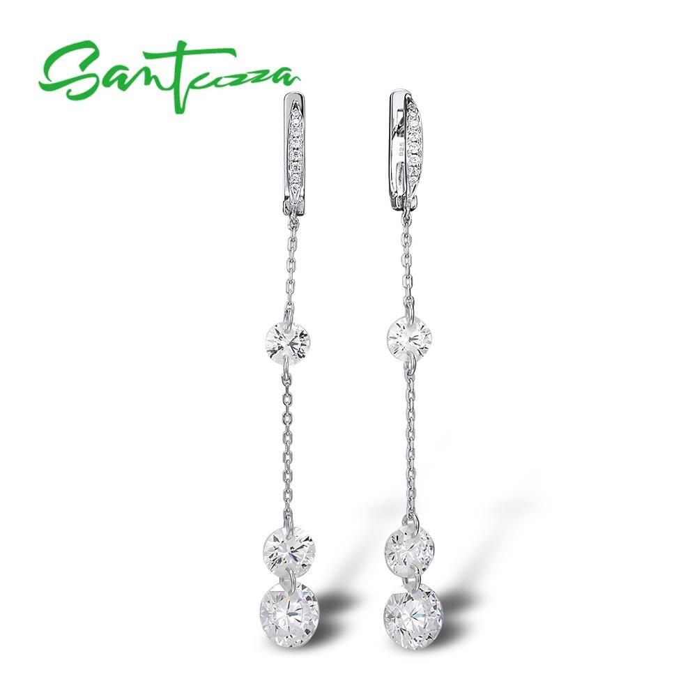 SANTUZZA Silver Earrings For Women Pure 925 Sterling Silver Sparkling White Cubic Zirconia Long Drop Earrings Fine Jewelry