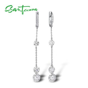 SANTUZZA Silver Earrings For Women Pure 925 Sterling Silver Sparkling White Cubic Zirconia Long Drop Earrings Fine Jewelry santuzza silver earrings for women 925 sterling silver flower earrings silver 925 white cubic zirconia fashion jewelry enamel