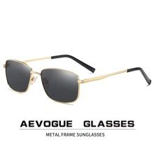 AEVOGUE 2020 New Sunglasses Men Square Retro Polarized Metal Frame Bran