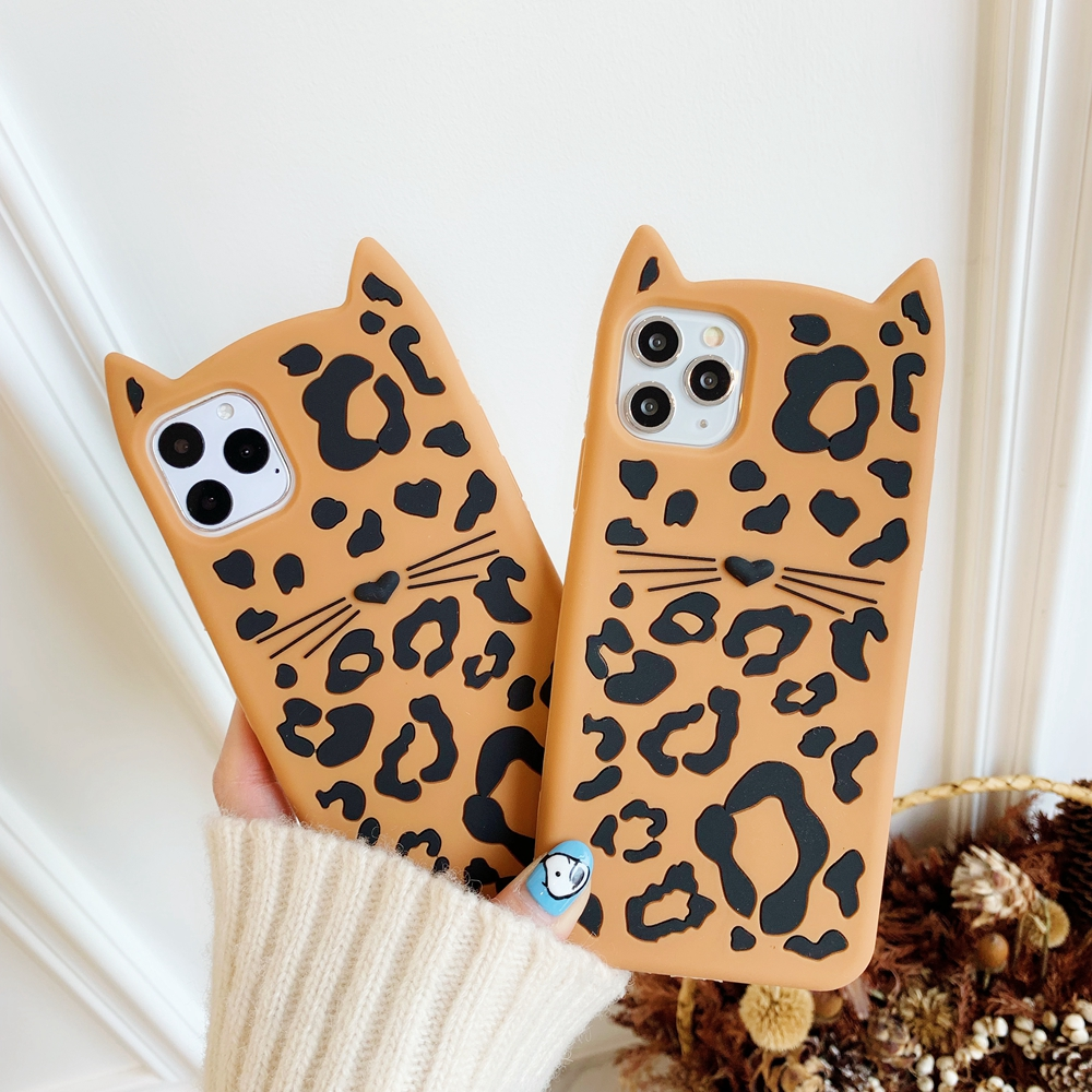 Fashion 3D cartoon Leopard print <font><b>cat</b></font> <font><b>case</b></font> for <font><b>iphone</b></font> 11 pro max silicone Protection Coque for <font><b>iphone</b></font> xr xs x <font><b>8</b></font> plus 6 6s 7 cover image