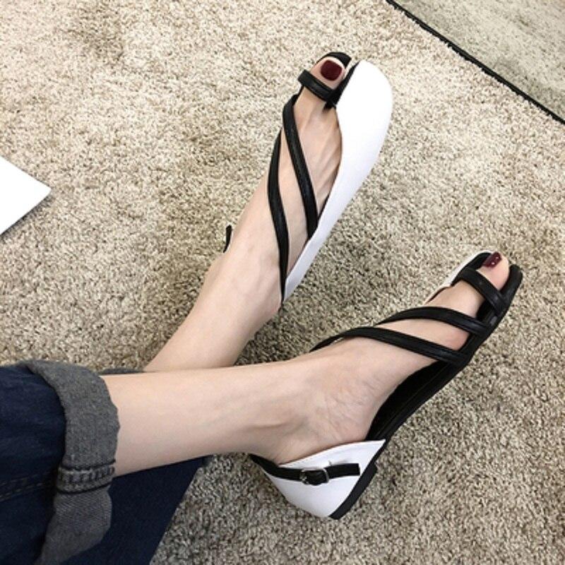 Summer ladies square head flat shoes Korean fashion shallow mouth split toe...