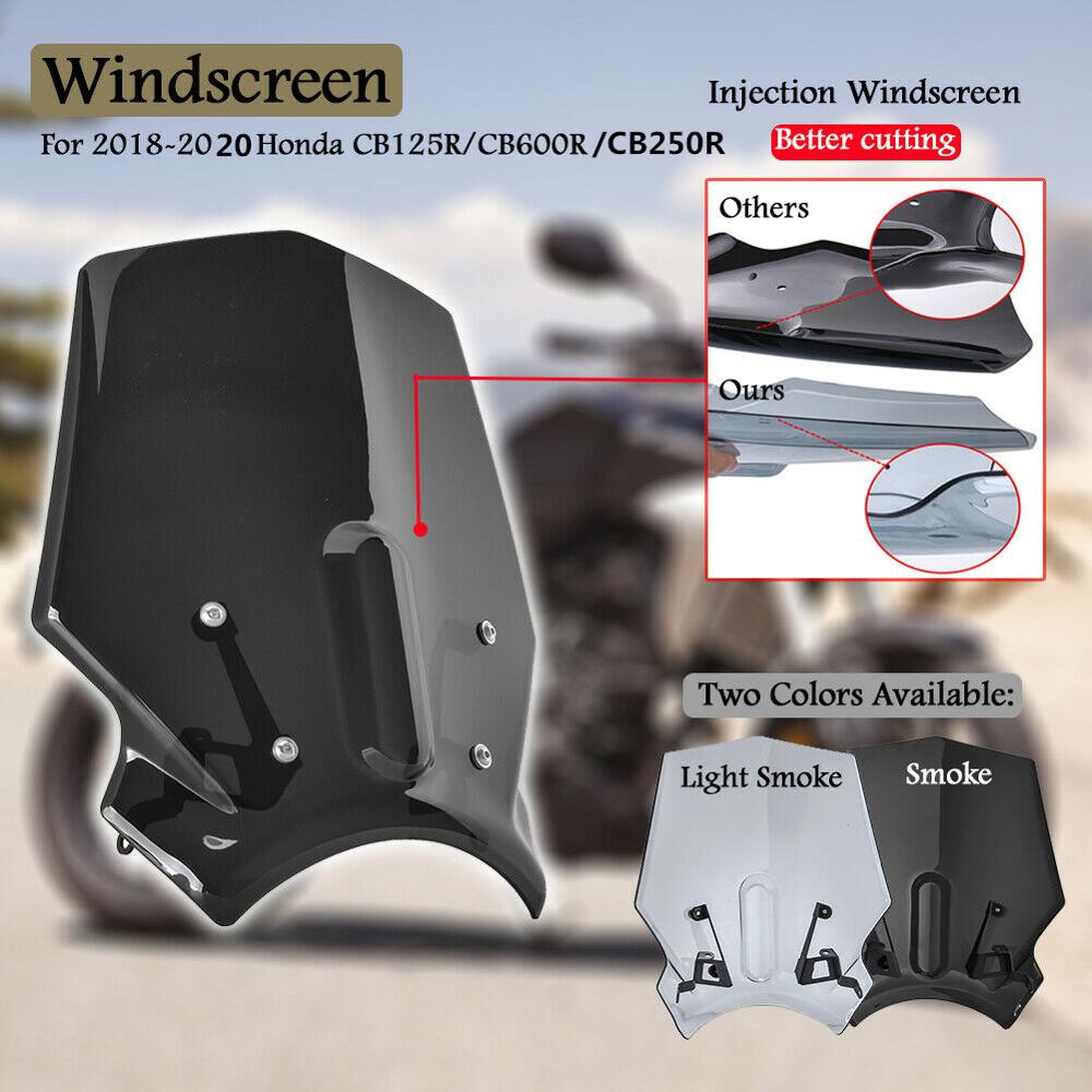 For Honda CB125R CB250R CB300R NEO Sports Cafe 2018 2019 2020 Windscreen Windshield Wind Deflector With Bracket Motorcycle Parts