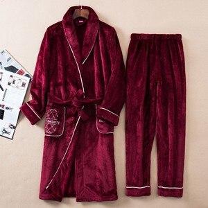 Image 4 - Зимний утепленный пижамный комплект, женский халат, фланелевая одежда для сна, 2 предмета, халат и Пижамный костюм, кимоно для влюбленных, платье, Коралловая Флисовая теплая домашняя одежда