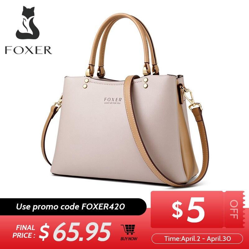 FOXER Elegant Fall Winter Bag Cowhide Leather Lady Handbag Simple Tote Female Large Capacity Purse Brand Messenger Bag For Women