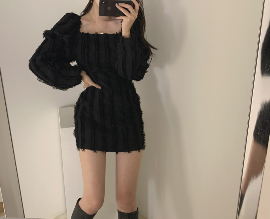 H17fa5ed416e04da39277514827ff2f07K - Autumn Square Collar Puff Sleeves Tassel Solid Mini Dress