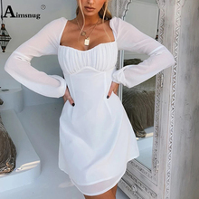 Aimsnug Sexy Solid White Long-sleeve Slash Neck High Waist Backless Pleated Lace-up 2019 New Autumn Elegant Women Mini Dress цена 2017