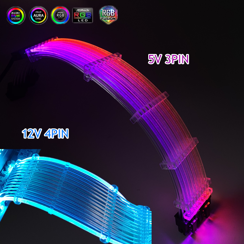 PSU Extension Cable Kit RGB Rainbow Cable GPU 8P 8 8  24PIN Extension Cord Neon line Support MOBO AURA SYNC 5V ARGB  12V RGB