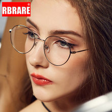 RBRARE-Montura De gafas redondas para Mujer, gafas De protección contra luz azul, Marco Retro De espejo, marcos De gafas transparentes