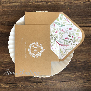 Brown craft custom envelope with different flower inner ,white color printing  50  pcs