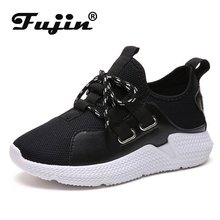 Fujin Sneakers Women Summer Breathable White Shoes Dropshipping Leisure Thick Bottom Lace Fashion Flat Mesh