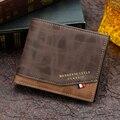 Модный мужской кошелек, сумка для денег, однотонный кожаный деловой короткий кошелек, знаменитый винтажный мягкий кошелек с несколькими ка...