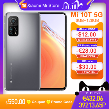 "Global Version Xiaomi Mi 10T 6GB RAM 128GB ROM Smartphone Snapdragon 865 Octa Core 144Hz 64MP Rear Camera 6.67"" DotDisplay"
