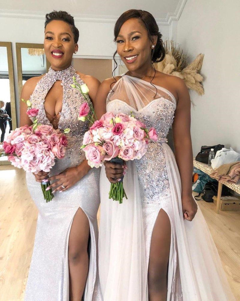 African Plus Size Split Prom Dresses Mermaid 2020 New Custom Made Beaded Top Mixed Style Long Prom Party Gowns - 3