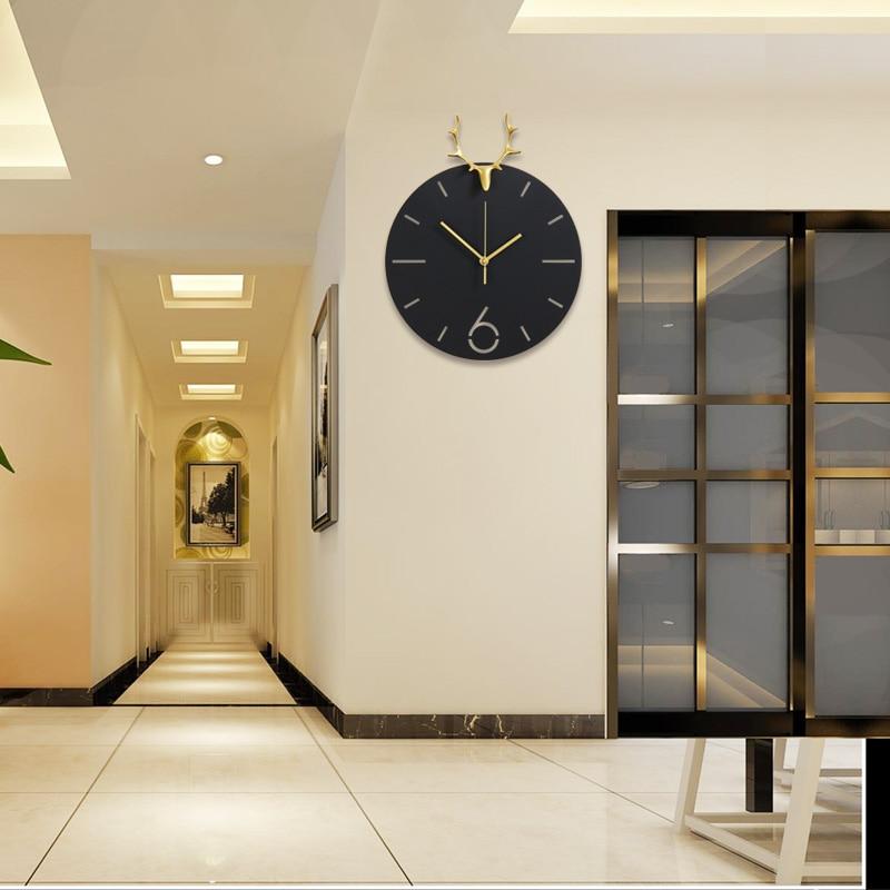 modern western decor.htm 2020 western style deer luxury metal gold black round wall clock  metal gold black round wall clock