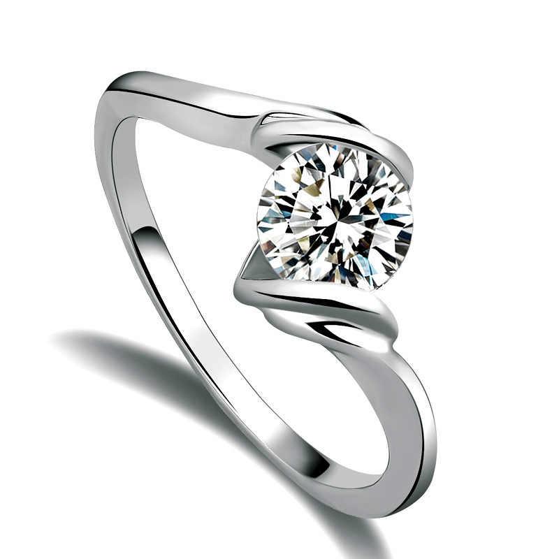 2019 ออกแบบ Diamond แหวน Zircon หญิงแฟชั่น OL แต่งงานแหวนหมั้นแหวนเครื่องประดับหญิง