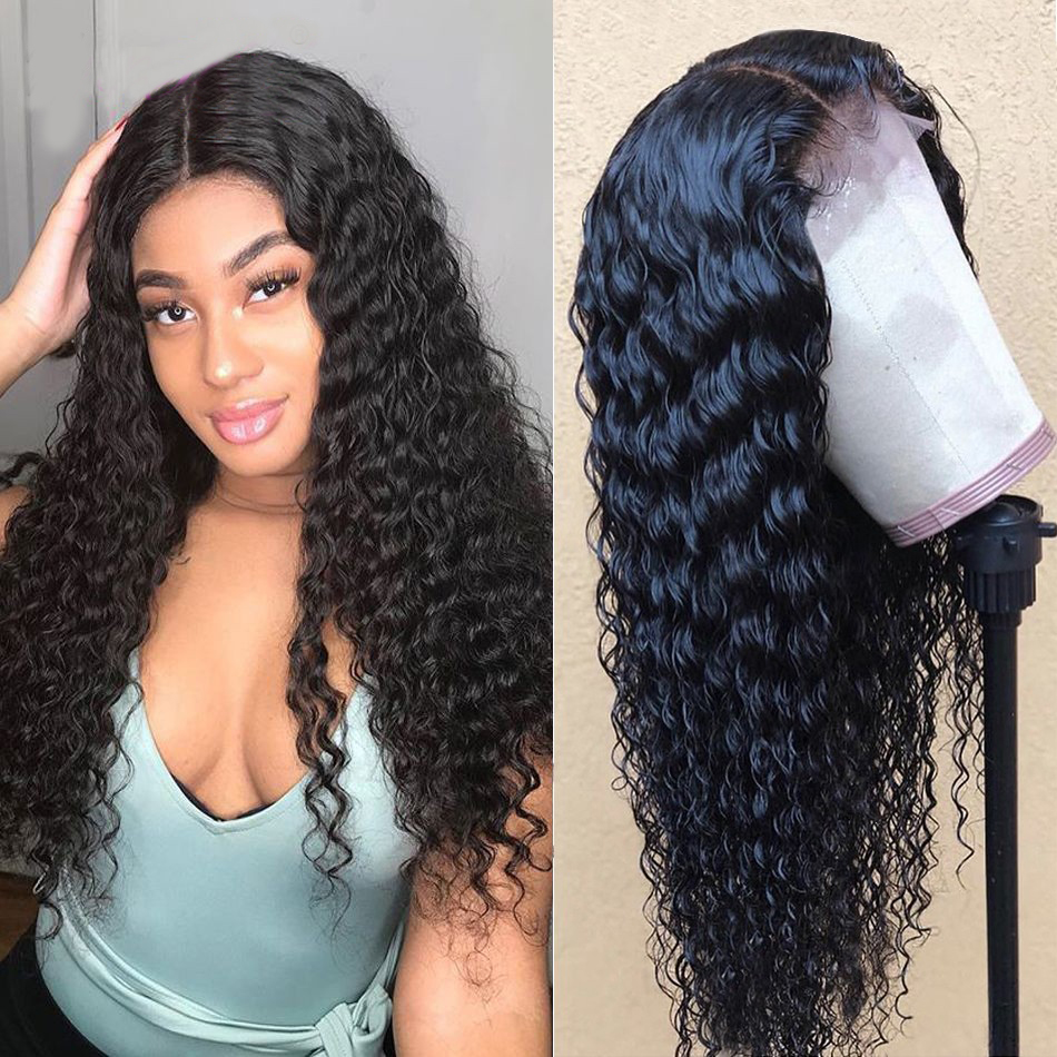 Deep Wave Curly Human Hair Wig 13*4 Lace Front Wig Brazilian Hair Pre Plucked For Black Women 150% Density 10A Remy Hair