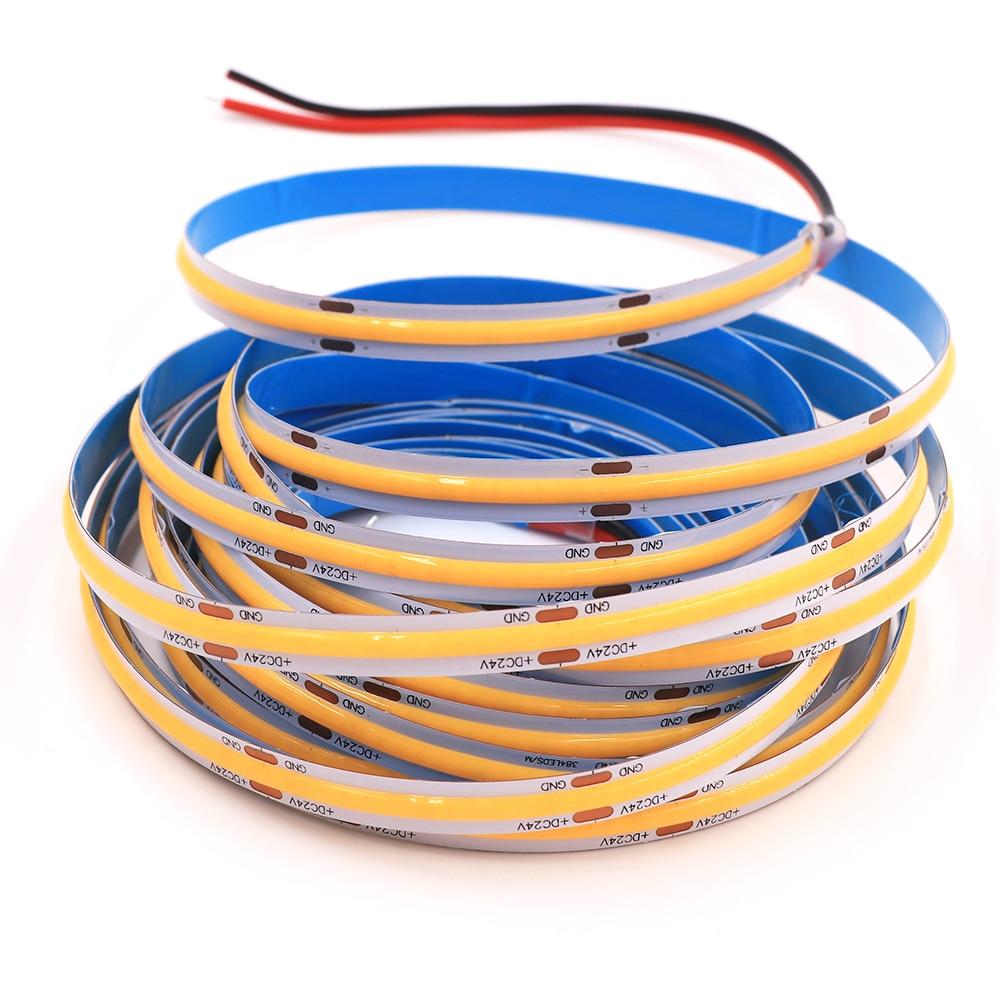 High Density Flexible COB LED Strip Light 5M DC12V Led Tape Light 300 384 528 LEDs Ribbon Diode Dimmable Warm Nature Cool White