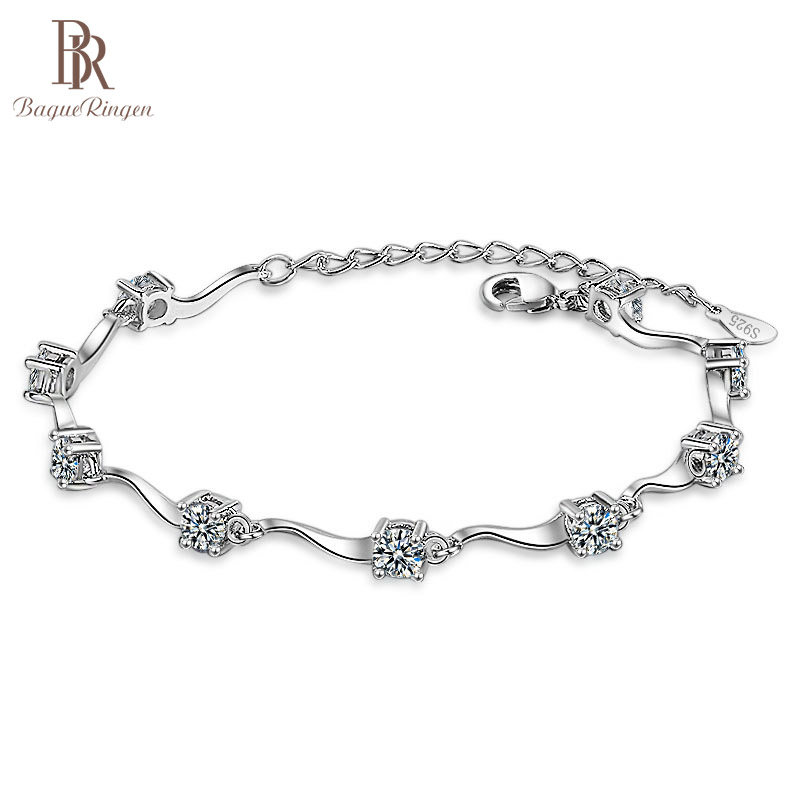 Bague Ringen Fashionable Korean Style Wave Shaped Bracelet For Women AAAAA Zircon Simple Silver 925 Jewelry Weddings Wholesale