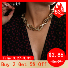 Punk Gothic Big Chunky Chain Choker Necklace Collar Accessories Steampunk Men Cuban Thick Twist Chain Necklace for Women Jewelry punk chunky cuban multi layter necklace for women male vintage new design thick long chain necklace steampunk statement jewelry