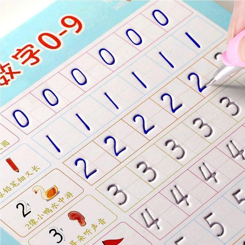 Crianças reutilizáveis 3d copybook caligrafia números 0-100 livros de escrita aprendizagem matemática inglês escrita prática livro para crianças
