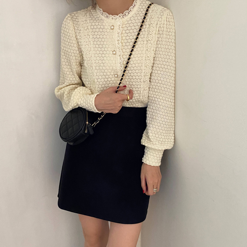 H17fbb1302426486cba36c2e571002a82x - Spring / Autumn O-Neck Long Sleeves Lace Buttons Blouse