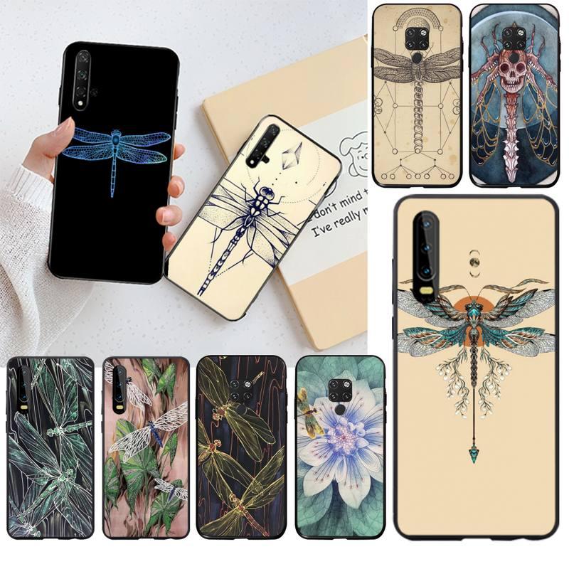 Art Dragonfly Fly Tattoo Nieuw Aangekomen Zwarte Mobiele Telefoon Geval Voor Huawei P40 P30 P20 Lite Pro Mate 20 Pro P Smart 2019 Prime