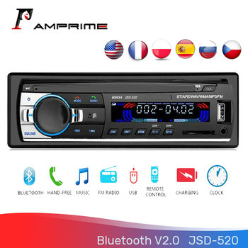 AMPrime 1Din 12V Bluetooth 2.0 Auto Stereo radio FM MP3 Music USB Digital Bluetooth Audio JSD-520 Stereo Multimedia player image