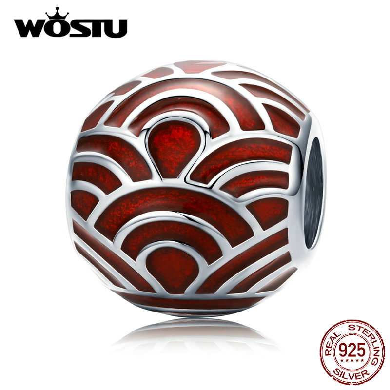 WOSTU 925 Sterling Silver Chinese Red Lantern Beads Lucky Charm Fit Original Bracelet Pendant New Year Present Jewelry CTC133
