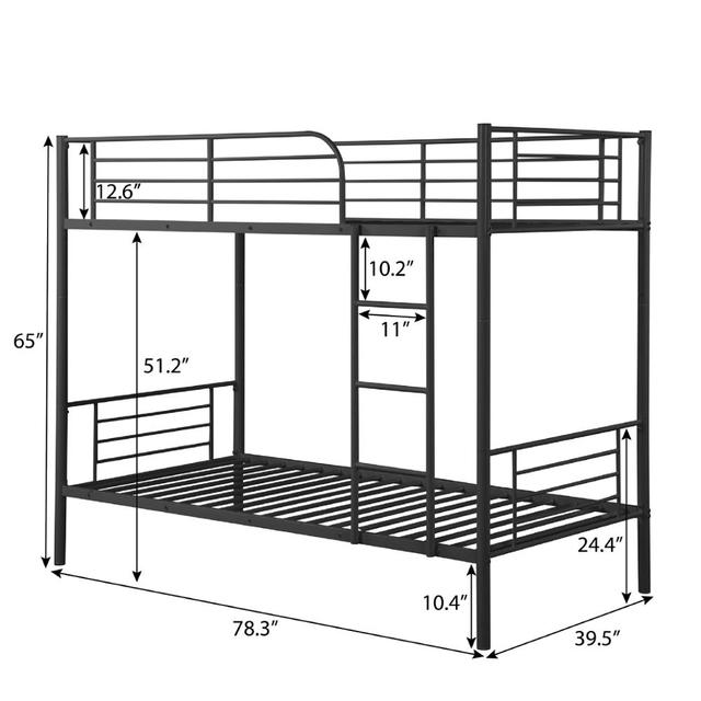 Twin Over Twin Loft Bunkbeds w/Metal Stairs 6