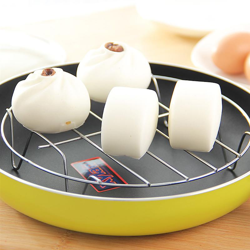 2Pcs Stainless Steel Home Kitchenware Round Steamer Rack Stand