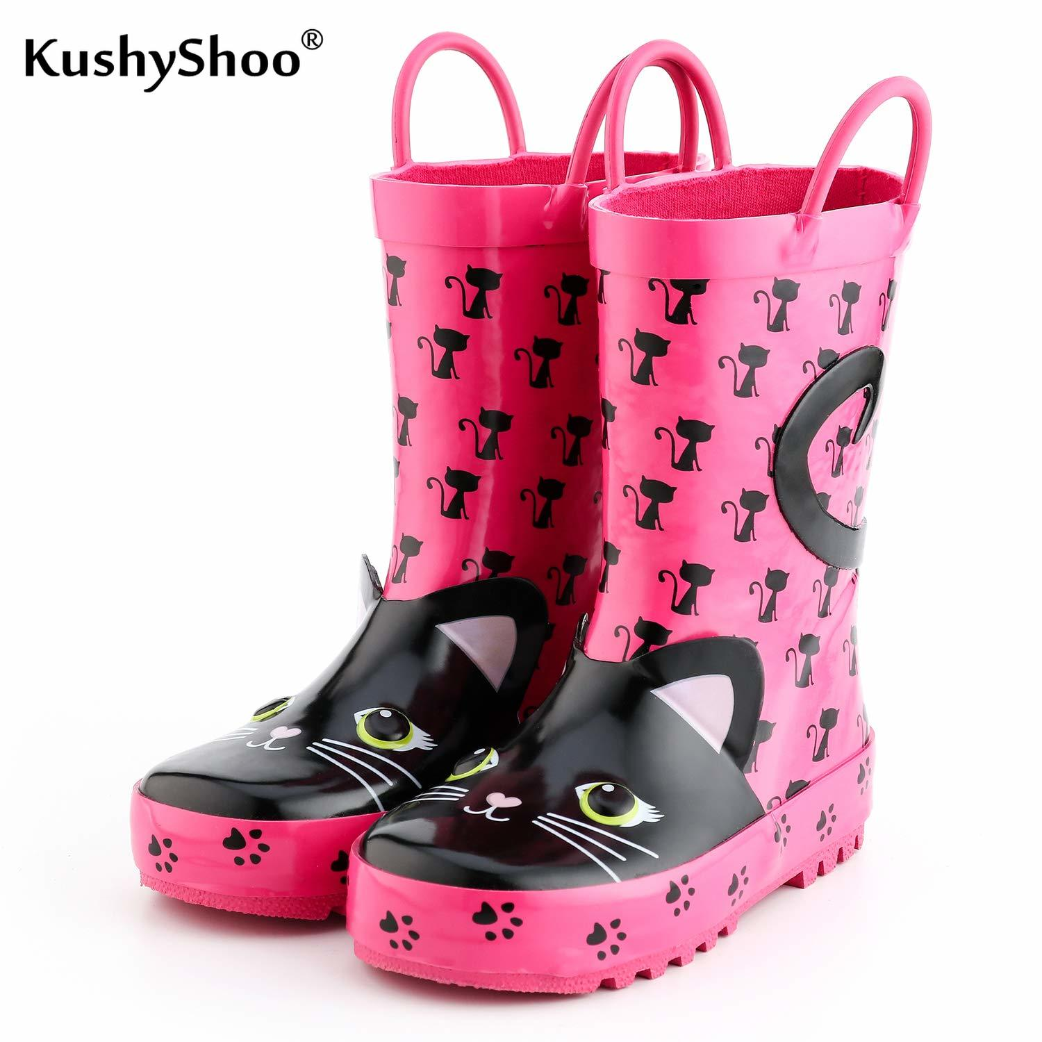 KushyShoo Kids Rain Boots Girl Rubber Boots With 3D Pink Cats Patterns Children Lovely Rainboots Water Shoes Kalosze Dla Dzieci