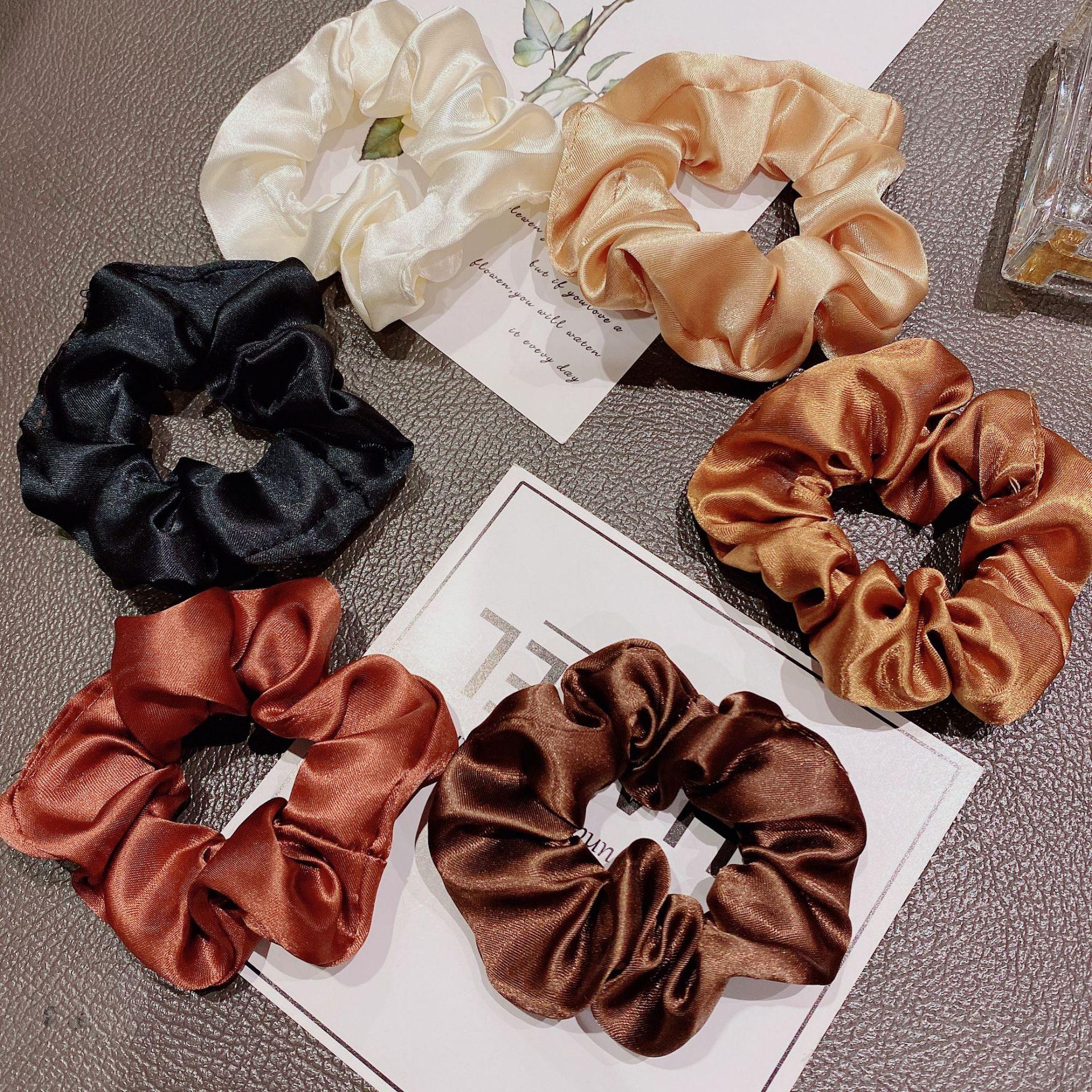 Women Silk rubber band hair bands satin Silk Multicolor Hair Band Ponytail Holder Headband Hair Accessories Satin Silk Solid