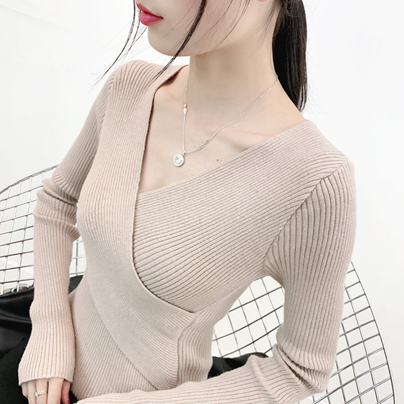 Autumn Winter V-neck Knit Sweater Pullover Women New Slim Sexy High-elastic Sweater Long Sleeve Knitwear Jumper Female Tops A966
