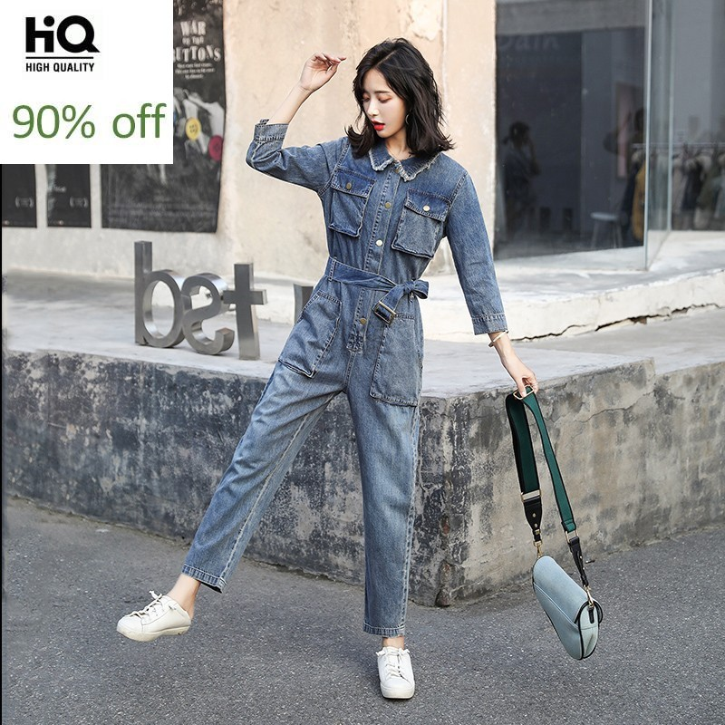 Autumn Fashion Korean Sashes Pockets Womens Cargo Overalls Vintage High Waist Loose Straight Pants Single Breasted Jumpsuits