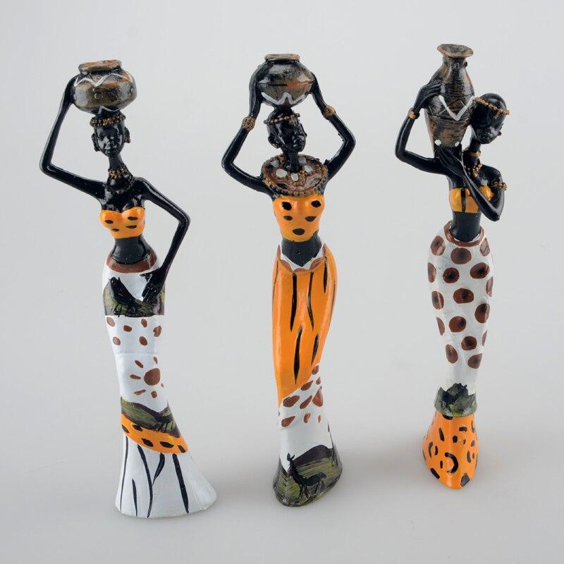 3 sztuk/partia 6*5*20cm afrykańska kobieta ludzie ozdoby akcesoria do dekoracji domu rzemiosło statua