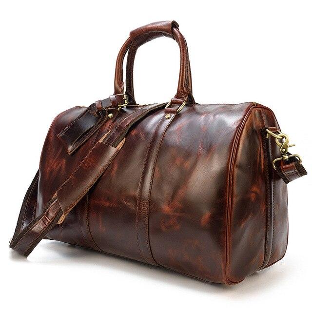 Męska Retro skórzana torba podróżna lśniąca skóra torba na bagaż duża pojemność skórzana torebka codzienna torba na ramię