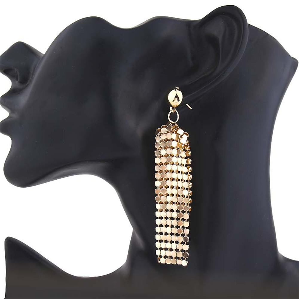 2019 New Fashion <font><b>Earrings</b></font> <font><b>Women</b></font> <font><b>Sexy</b></font> <font><b>Long</b></font> Fringe Dangle <font><b>Earrings</b></font> Two-tone Sequins Wrap Ethnic Vintage Fashion <font><b>Women</b></font> Jewelry image