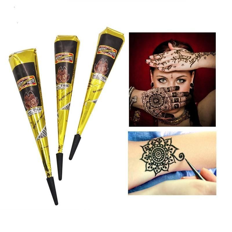 Hot Halloween Christmas Cones Indian Henna Tattoo Paste BlackHenna Cones For Temporary Tattoo Body Art Sticker Mehndi Body Paint