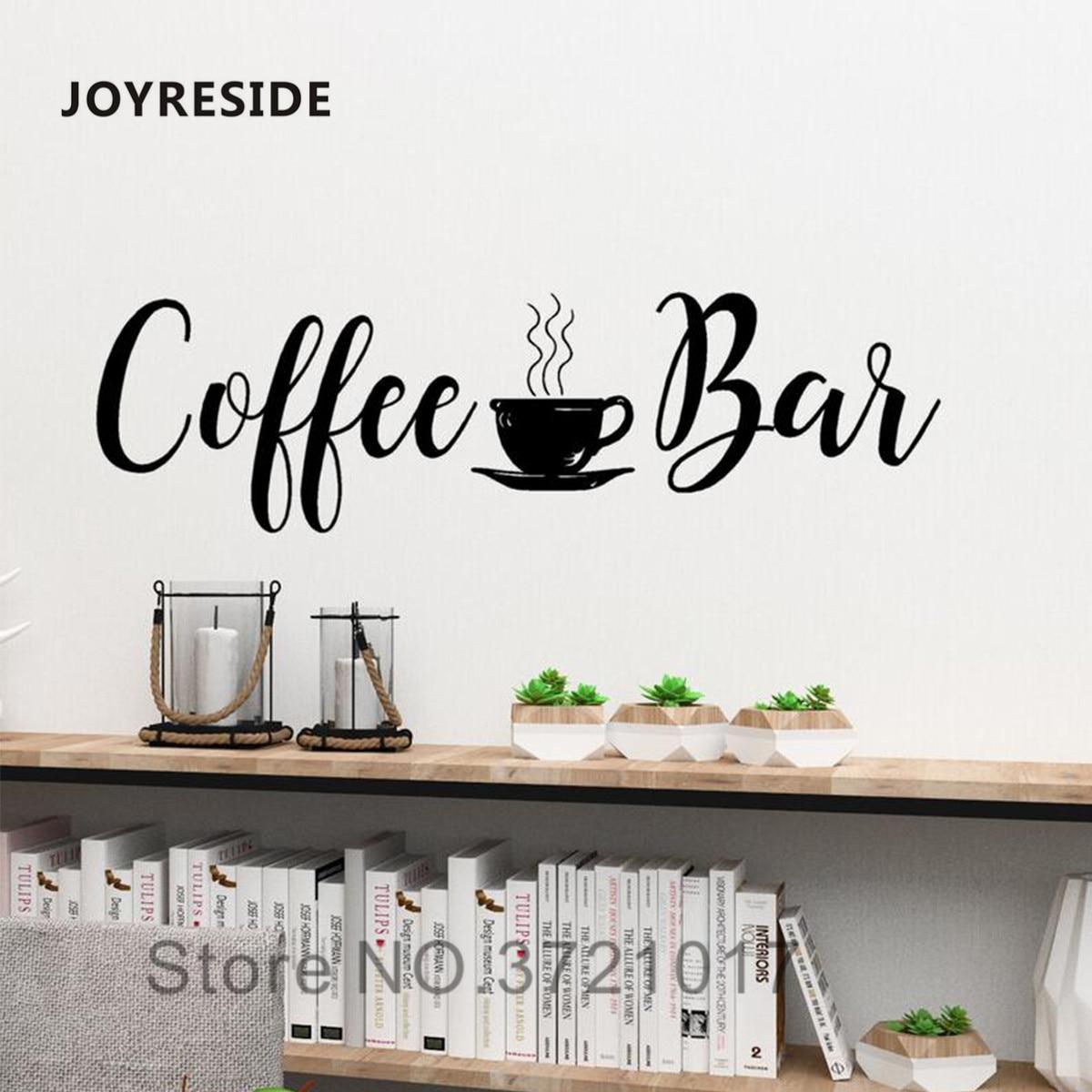 JOYRESIDE Coffee Bar Quotes Wall Decal Kitchen Home Wall Decor Vinyl  Sticker Vinyl Design Coffee Bar Wall Mural Wallpaper WM 9
