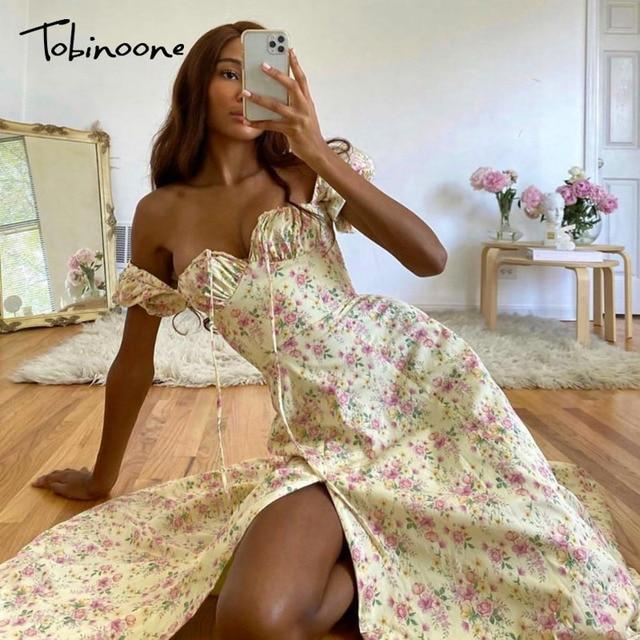 Tobinoone Print Summer Dress Women Floral Short Puff Sleeves Square Collar High Slit Sundress Party Drawstring Holiday Dresses 2