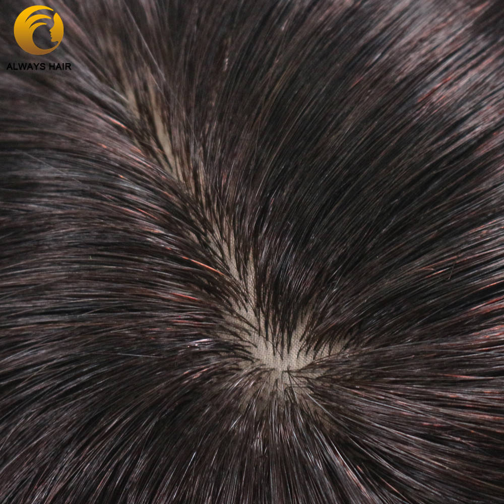 "Image 5 - Silk Base Indian Remy Human Hair Mens Toupee Natural Scalp Straight Natural Color 6""x8"" 7""x9"" 8""x10"" Hair Sytem for MaleToupees   -"