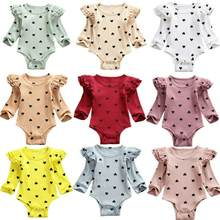 2020 Baby Spring Autumn Clothing Infant Newborn Bay Girls Fly Long Sleeve Hearts Print Bodysuits Ribbed jumpsuits Casual Costume(China)