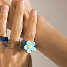 2021 New Trendy Colorful Sunflower Acrylic Resin Rings for Women Girls Irregular Square Chunky Rings Korea Flower Jewelry Gift