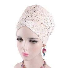 Горный хрусталь бархатные тюрбаны для женщин мусульманских длинный хвост шляпа платок исламские шарф под капотом дамы Африканский обернуть голову шарфы