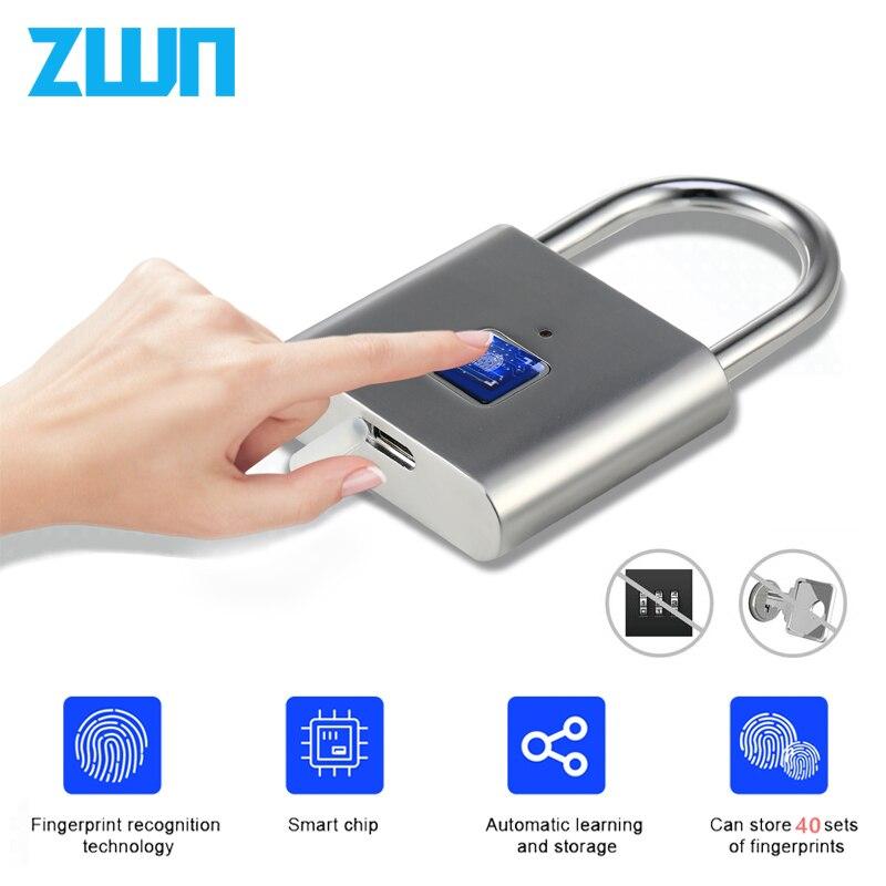 Zwn h1 keyless usb recarregável de impressão digital inteligente cadeado desbloqueio rápido fechadura da porta liga zinco metal auto desenvolvendo chip