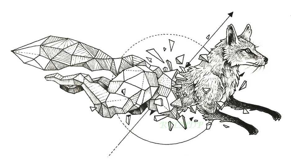 تاتو مؤقت مضاد للمياه وشم الأسد هوك الثعلب الذئب الحوت البومة هندسية الحيوان فلاش تاتو وشم مزيف لفتاة النساء الرجال طفل 7
