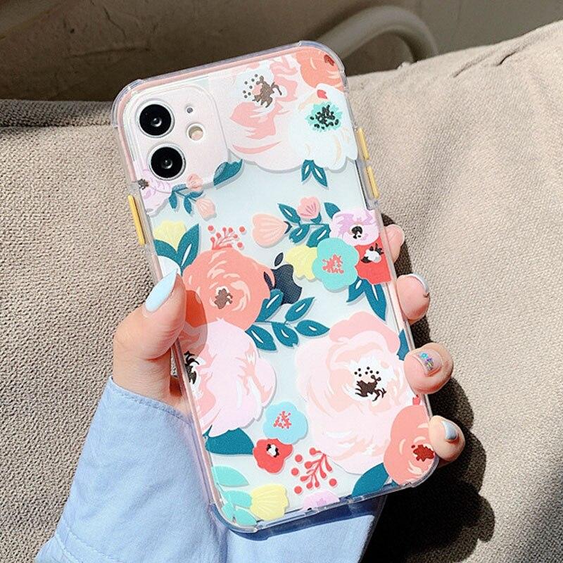 Luxury Flower Transparent Phone Case For iPhone 12 11 Pro Max 7 8 Plus X XR XS Max SE2020 Bumper Soft TPU Back Cover Coque Funda