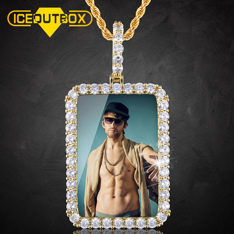 New Rectangle Custom Made Photo Pendant Necklace Medallions Mens Hip Hop Jewelry For Gold Silver Rose Gold Crystal Fashion Chain