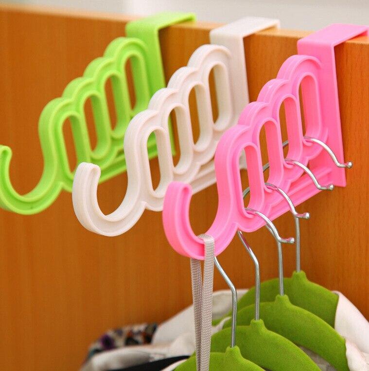 Multifunctional Plastic Door Back Type Hook Hanger Towel Display Hanger Belt Scarf Hanger Storage Holder For Bedroom