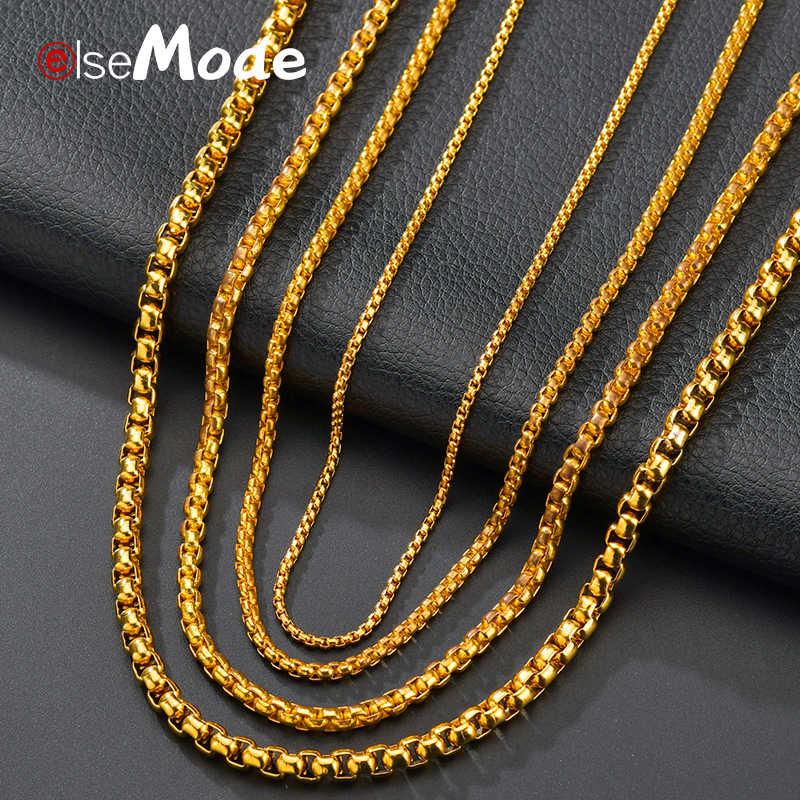 ELSEMODE 2mm/2.5mm/3mm złoty czarny ze stali nierdzewnej okrągłe pudełko łańcuch naszyjnik dla kobiet mężczyzn wodoodporna hurtownie